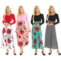 Plus Ladies Long Sleeve Floral Boho Women Party Bodycon Maxi Polka Dot Dress New