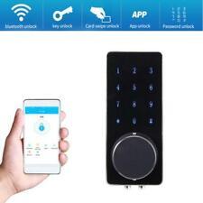 Black Digital WiFi bluetooth Remote Door Lock Smart Phone App Key Card Password