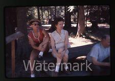 1962 35mm amateur Ektachrome Photo slide Ladies on Park bench  Picnic