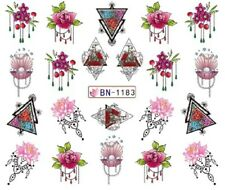 Nail Art Stickers Water Decals Transfers Red Flowers Triangles (BN1183)