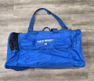 Ralph Lauren Polo Sport Vintage 90s Blue Nylon Gym Bag Duffel Spellout Flag