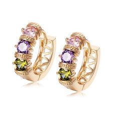 Fashion Womens Yellow Gold filled Pink Purple Crystal Huggie Hoop Earrings