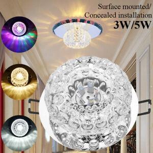 3/5W Crystal LED Ceiling Light Fixture Aisle Hallway Pendant Lamp Chandelier