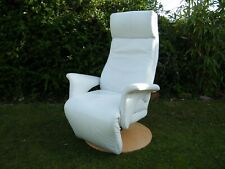 Himolla Easy Swing Recliner/Swivel Chair in White Leather