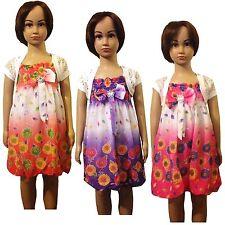 Girls Party Summer Dress Shrug 2 Piece Set Bolero Jacket Tunic Top 3-10 yrs #17