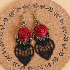 Vintage Gothic Vampire Halloween Black Lace Red Flowers Dangle Earrings Little