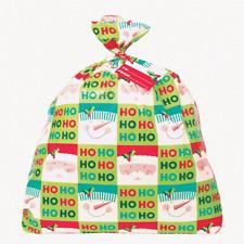 Christmas Holly Santa Jumbo Plastic Gift Bag & Tag Ho Ho Ho Santa & Snowman Face