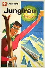 VINTAGE SWITZERAND JUNGFRAU REGION SKIING SKI TRAVEL A3 POSTER PRINT