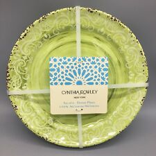 x6 Cynthia Rowley Melamine Dinner Plate Set Lime Green Rustic Medallion Tuscan