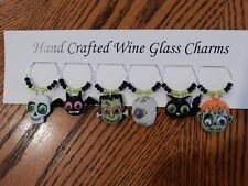 """""""HALLOWEEN GOOGLE EYE MONSTERS"""" SET OF 6 HAND CRAFTED WINE GLASS CHARMS"""
