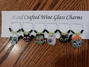 """""""HALLOWEEN GOOGLE EYE MONSTERS"""" SET OF 6 HAND CRAFTED WINE CHARMS"""