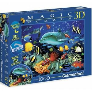 Clementoni Puzzle 1000 Parts Magic 3D Reef With Dolphins Animals Sub Marine