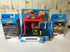 Hot Wheels Downtown Fire Station Spinout Vehicle Playset-2(3 -pack )