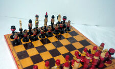 "VINTAGE RUSSIA CHESS BOARD SET Folding Hand painted - 4"" Kings #23"