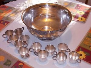 VINTAGE WALLACE SILVER  PLATE HARVEST  PUNCH BOWL WITH 12 MATCHING CUPS