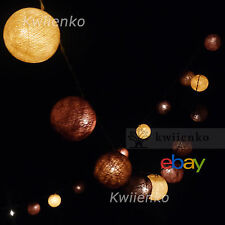 LED Batterie or Stecker Stoff Ball Kugel Lichterkette Party,Patio,Deko,Hochzeit,