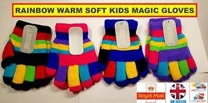 Boys Girls Rainbow Magic Gloves Pair Children Winter Warm Soft Stretch Fingers