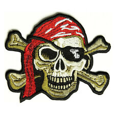 Embroidered Pirate Skull Cross Bones Sew or Iron on Patch Biker Patch