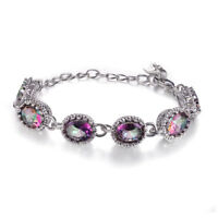 925 Silver MYSTICAL Rainbow Topaz Gemstone Jewelry Pageant Bracelet Wholesale