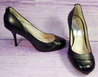 Michael Kors Black Leather Womens Pumps Heels Round Toe Silver Grommets Size 8 M