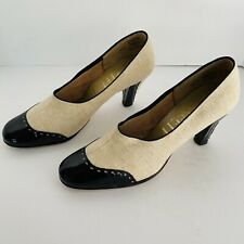 Vtg Gepetto Tweed/Black Patent Leather Spectator Pumps Classic Womens 8.5 Usa
