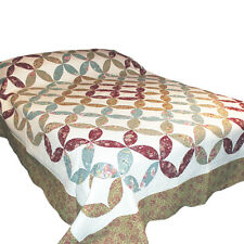 Four Leaf Patchwork Quilted Bedspread / Throw