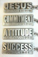 Lot of (4) FINE PEWTER Inspirational Key Rings - Purse Charms JESUS SUCCESS...