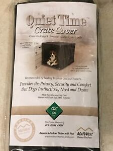 """PET CRATE COVER Midwest Quiet Time Black 42""""L x 28""""W x 30""""H Hook & Loop Tabs NEW"""