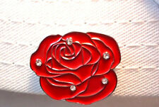 Rose with Crystals Golf Ball Marker and Strong Magnetic Hat Clip