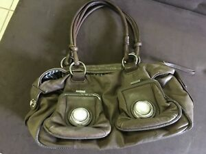 Mimco brown button soft leather bag fabulous travel large expandable