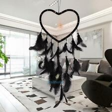 Dream Catcher with Feathers Heart Shaped Wall Hanging Decoration Ornament Black