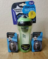 Tommee Tippee Green Filter Bottle 12m+ filters water Plus 2 replacement Filters