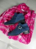 MARKON BLUE NAVY SUEDE LEATHER  SLIP ON ANKLE BOOTS SIZE 7.5