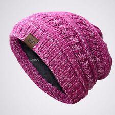 W Knit Slouchy Baggy Beanie Oversize Winter Hat Ski Slouchy Cap Skull Women