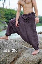 Mens Hemp Harem Pants Hippie Brown Yoga Plain Aladdin Martial Arts Festival