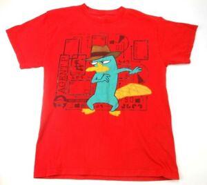 Disney Phineas and Ferb Boys T Shirt XXL 18 Red Pre Shrunk Cotton Kids