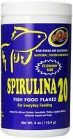 Zoo Med Spirulina 20 Fish Food Flakes For Everyday Feeding, Choose Size