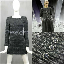 NEUF CHANEL Gris Lurex Laine Tweed Fantasy Court Ajusté Robe de cocktail Taille FR34 S