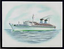 Original Art Work ...tn MICHELANGELO... ocean liner...Italia..profile