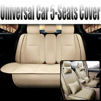 Fly5D SUV Car Seat Cover PU Leather Front Rear Set Cushions Universal Beige 2020