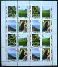 4 x Tonga 2017 im kpl. Bogen ** MNH Eua National Park Papagei Parrot Birds