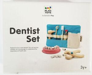 PLAN TOYS wooden DENTIST SET wood toothbrush, dental tools, teeth, case