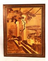 "Inlaid wood artwork. Italian Notturno Intarsio. 26"" X 20"".  Sorrento veranda."