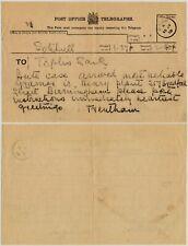 SARK CHANNEL ISLANDS 1919 TELEGRAM to WILLIAM TOPLIS ARTIST