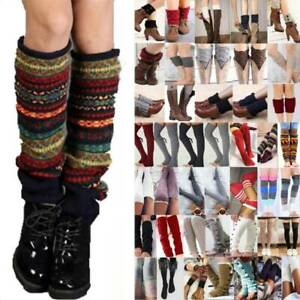 Women Ladies Crochet Knitted Leg Warmers Cuffs Toppers Boot Winter Gifts Socks