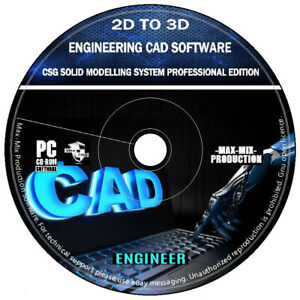 2D To 3D Engineering CAD CSG Solid Modelling Software Professional Edition DVD