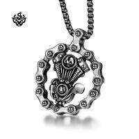 Silver bike chain Motor engine pendant stainless steel bikies necklace
