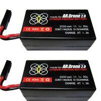 2 x 2000mAh 11.1v Battery Batterie For Parrot AR Drone 2.0