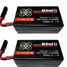 2 x 2000mAh Parrot AR Drone 2.0 Battery  Batterie Upgrade 11.1v Lipo Battery
