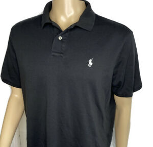 Polo Ralph Lauren Shirt Pima Soft Touch Short Sleeve Solid Black Men Sz XL Pony